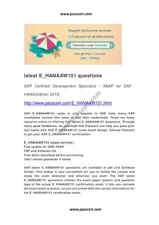 latest SAP E_HANAAW151 questions