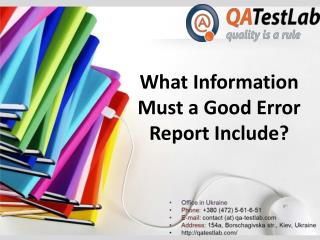 What Information Must a Good Error Report Include?