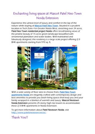 Enchanting living spaces at Mascot Patel Neo Town Noida Extension