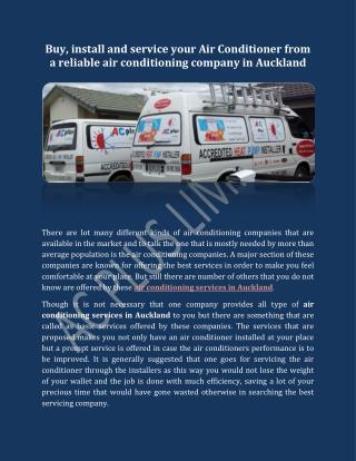Buy, install and service your Air Conditioner from a reliable air conditioning company in Auckland