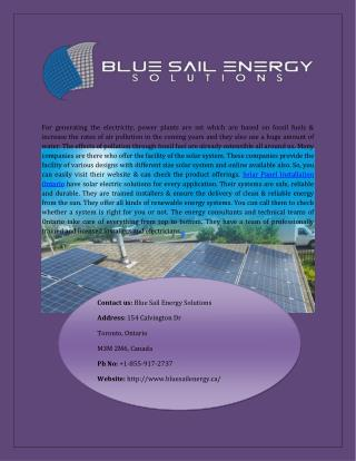 Best Solar Panel Installation In Ontario