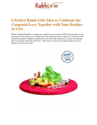 6 Perfect Rakhi Gifts Idea to Celebrate the Congenial Love Together with Your Brother in USA