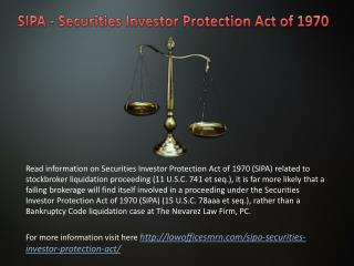SIPA - Securities Investor Protection Act of 1970