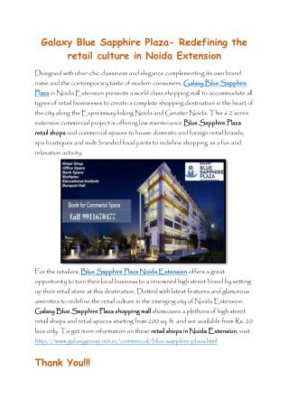 Galaxy Blue Sapphire Plaza- Redefining the retail culture in Noida Extension