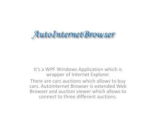 It s a WPF Windows Application which is wrapper of Internet Explorer. There are cars auctions which allows to buy cars.