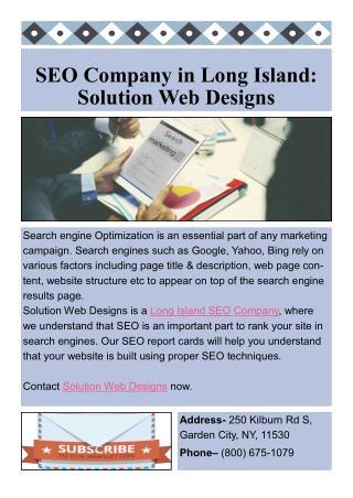 SEO Company In Long Island: Solution Web Designs