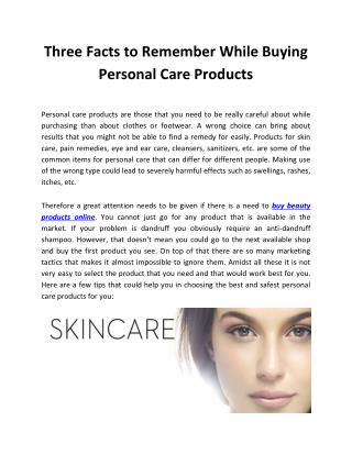 Three Facts to Remember While Buying Personal Care Products