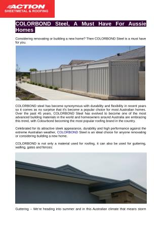 Thinking of Colorbond roofing?