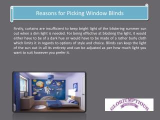Reasons for Picking Window Blinds