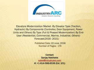 Elevators Modernization Market: increasing adoption of elevator design and features modernization during 2016-2021.