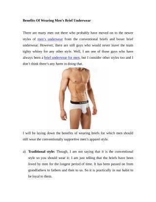 Benefits Of Wearing Men's Brief Underwear
