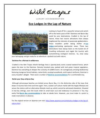 Eco Lodges in the Lap of Nature