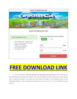 Dream City Metropolis Hack apk download