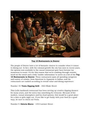 Top 10 Restaurants in Denver