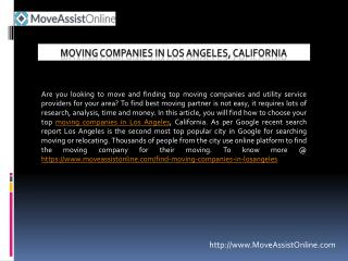 List of Top Moving Companies in Los Angeles
