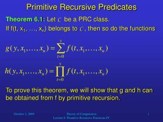 Primitive Recursive Predicates