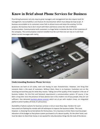 Know in Brief about Phone Services for Business