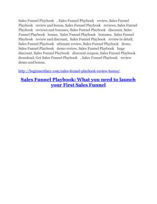 Sales Funnel Playbook Review and GIANT $12700 Bonus-80% Discount