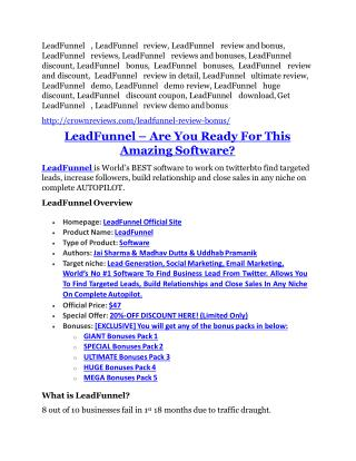 LeadFunnel review - 65% Discount and FREE $14300 BONUS