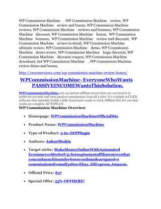 WP Commission Machine review - WP Commission Machine sneak peek features