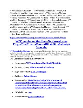 WP Commission Machine Review-MEGA $22,400 Bonus & 65% DISCOUNT