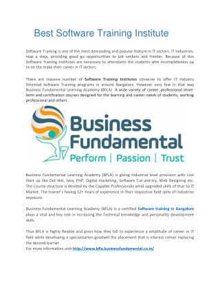 Software Training Institute in Bangalore