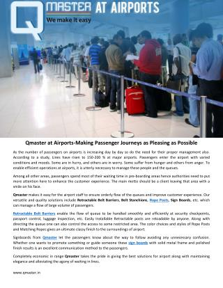 Qmaster at Airports-Making Passenger Journeys as Pleasing as Possible
