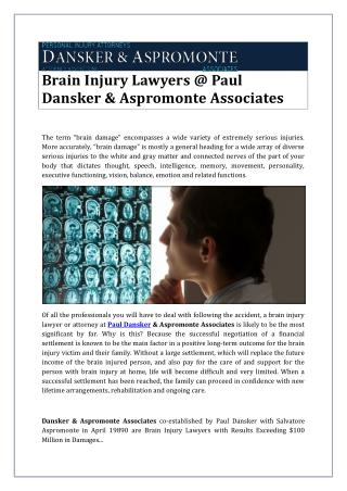 Brain Injury Lawyers @ Paul Dansker & Aspromonte Associates