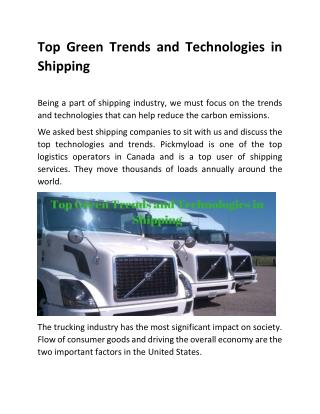 Top Green Trends and Technologies in Shipping