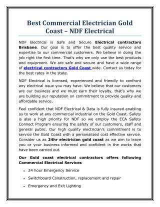 Best Commercial Electrician Gold Coast – NDF Electrical