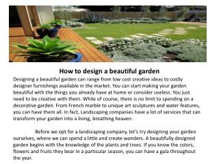 How to design a beautiful garden