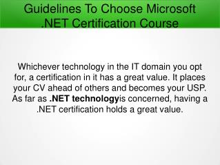 Guidelines To Choose Microsoft .NET Certification Course