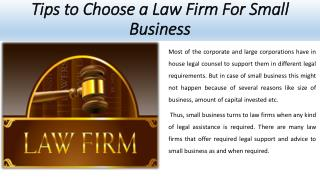 Tips to Choose a Law Firm For Small Business  - Jeremy Eveland
