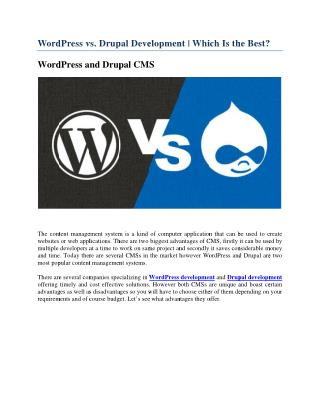 WordPress vs. Drupal Development | Which Is the Best?