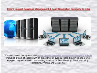 India's Largest Database Management & Lead Generation Company In India | Frozenlemonz