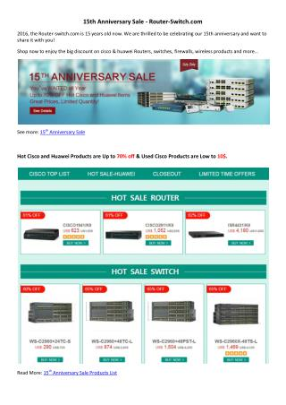 15th Anniversary Sale - Router-Switch.com