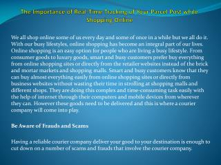 The Importance of Real-Time Tracking of Your Parcel Post while Shopping�Online