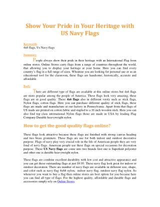 Show Your Pride in Your Heritage with US Navy Flags