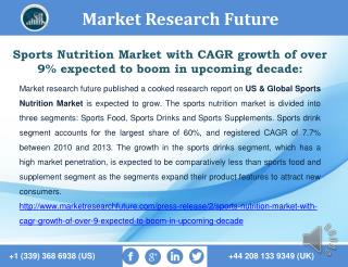 Sports Nutrition Market with CAGR growth of over 9% expected to boom in upcoming decade