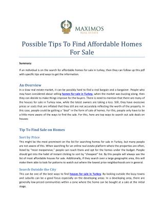 Best Possible Tips To Find Affordable Homes For Sale