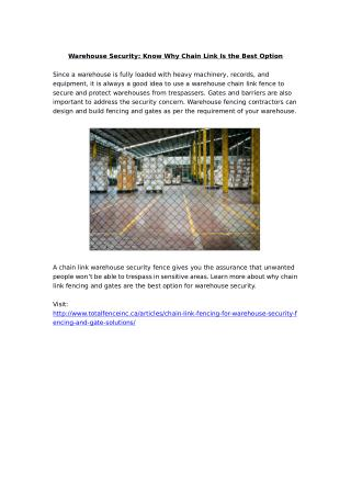 Warehouse Security: Know Why Chain Link Is the Best Option