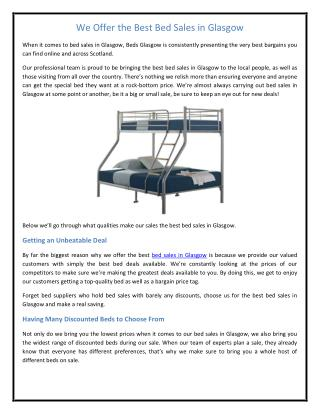 We Offer the Best Bed Sales in Glasgow