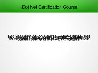 Dot Net Certification Course in Pune