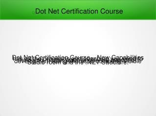 Dot Net Certification Course in Pune