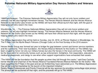 Potomac Nationals Military Appreciation Day Honors Soldiers and Veterans