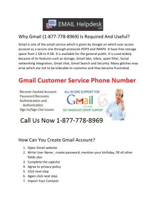 Why Gmail (1-877-778-8969) Is Required And Useful?