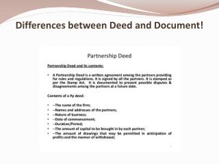 Differences between Deed and Document!