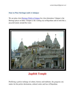 How to Plan Heritage walk in udaipur