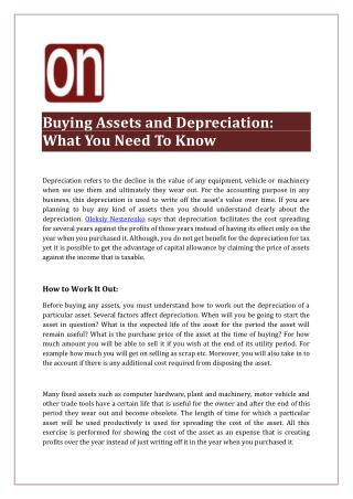 Buying Assets and Depreciation: What You Need To Know