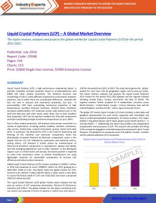 Electrical & Electronics Sector Continues to Dominate the Global LCPs Consumption to Drive Demand to Reach 64k MTs by 20